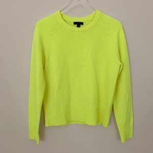 j. crew highlighter yellow wool sweater
